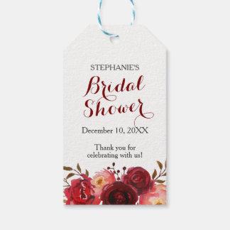 Etiquetas Para Regalos Ducha nupcial floral de los rosas rojos de Borgoña