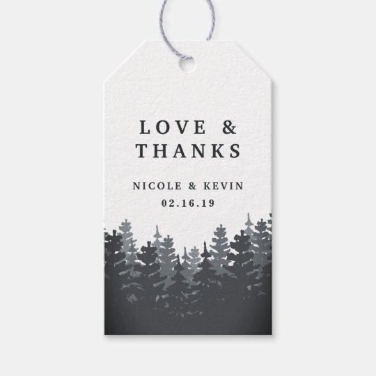 Etiquetas Para Regalos El boda del bosque del invierno le agradece