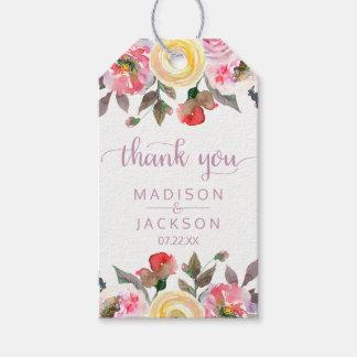 Etiquetas Para Regalos El boda floral de la acuarela color de rosa dulce