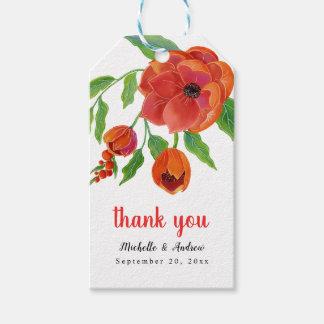 Etiquetas Para Regalos El boda floral de los Peonies rojos le agradece