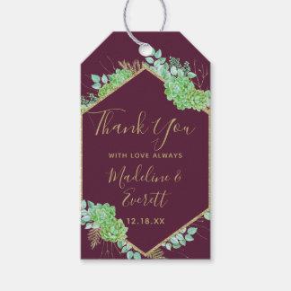 Etiquetas Para Regalos El boda verde del marco del oro de los Succulents