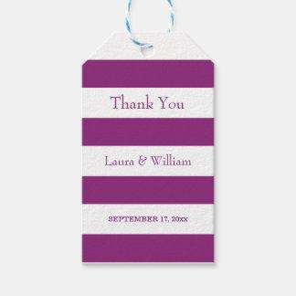 Etiquetas Para Regalos El casarse le agradece las rayas de la púrpura de