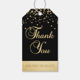 Etiquetas Para Regalos El confeti negro personalizado del oro LE AGRADECE