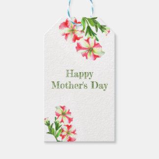 Etiquetas Para Regalos El día de madre floral de las petunias blancas
