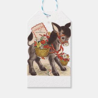 Etiquetas Para Regalos El día de San Valentín dulce retro del burro del