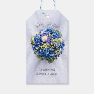 Etiquetas Para Regalos El favor floral azul y blanco del boda le agradece