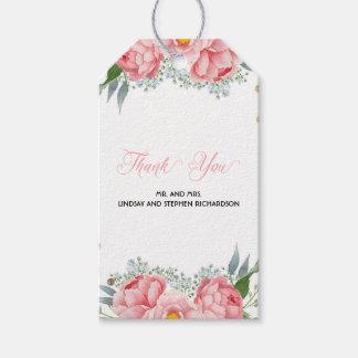 Etiquetas Para Regalos El Peony rosado florece el boda elegante de la