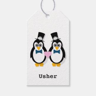 Etiquetas Para Regalos El regalo de Sr. y de boda de Sr. Penguin marca