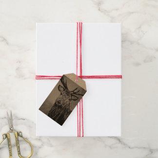 Etiquetas Para Regalos El regalo ilustrado reno de Navidad del navidad