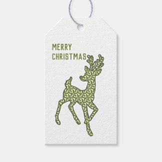 Etiquetas Para Regalos El reno/las Felices Navidad/regalo del verde y