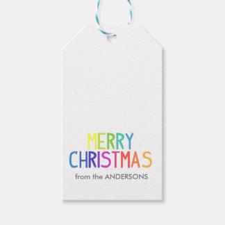 Etiquetas Para Regalos Escritura del arco iris de las Felices Navidad