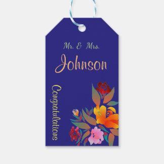 Etiquetas Para Regalos Estampado de flores multicolor, casandose