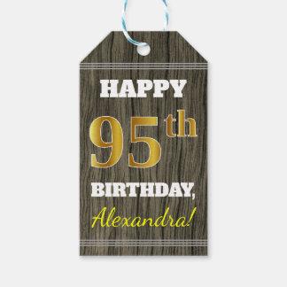 Etiquetas Para Regalos Falsa madera, 95.o cumpleaños del falso oro +