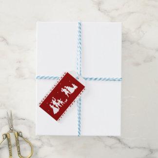 Etiquetas Para Regalos Familia de las Felices Navidad del vintage con el