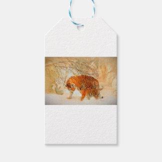 Etiquetas Para Regalos Familia en una ventisca - PaintingZ del tigre