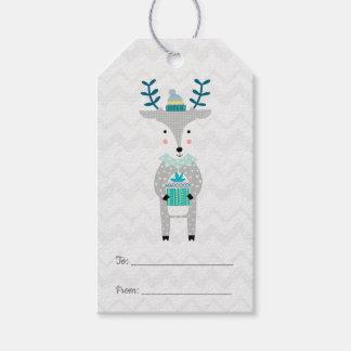 Etiquetas Para Regalos Felices Navidad del reno lindo escandinavo