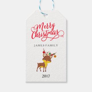Etiquetas Para Regalos Felices Navidad Rudolph el reno sospechado rojo