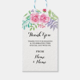 Etiquetas Para Regalos Floral gracias marcar el Watercolour del favor con