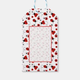 Etiquetas Para Regalos Flores rojas de señora Bug Floral White Spring de
