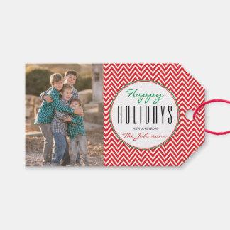 Etiquetas Para Regalos Foto personalizada Chevron roja y blanca de