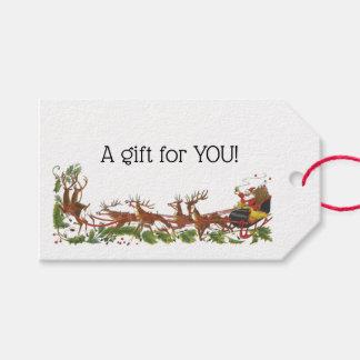 Etiquetas Para Regalos Frontera del reno del trineo de Navidad Santa del