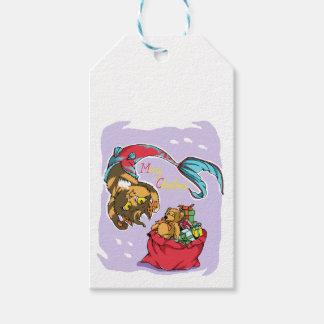 Etiquetas Para Regalos Gato de la sirena del navidad con el saco de Santa