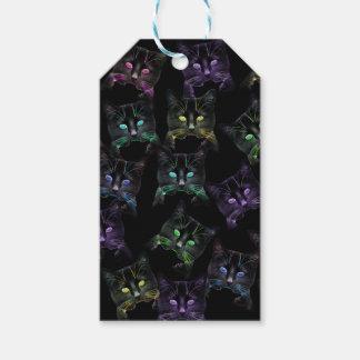Etiquetas Para Regalos ¡Gatos frescos en negro! Gatos multicolores