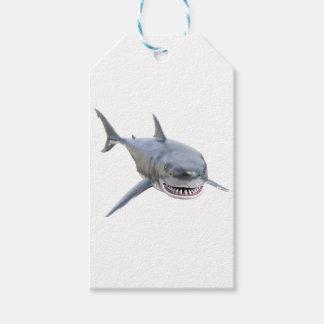 Etiquetas Para Regalos gran tiburón blanco que nada al frente