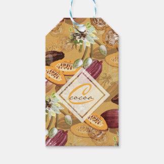 Etiquetas Para Regalos Granos de cacao, flores del chocolate, los regalos
