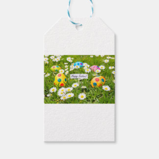 Etiquetas Para Regalos Huevos de Pascua pintados en hierba con las