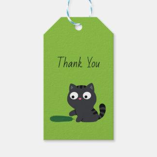 Etiquetas Para Regalos Ilustracion del gatito y del pepino