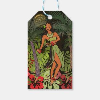 Etiquetas Para Regalos Impresión floral del arte de Hula de la hawaiana