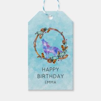 Etiquetas Para Regalos Lobo de la acuarela con un cumpleaños de la
