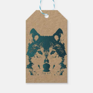 Etiquetas Para Regalos Lobo de los azules claros del ilustracion