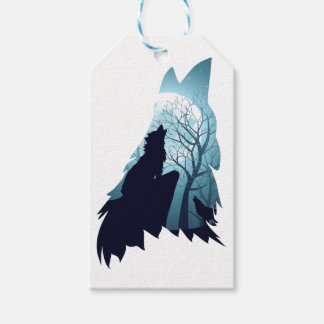 Etiquetas Para Regalos Lobo que grita con Forest2-01