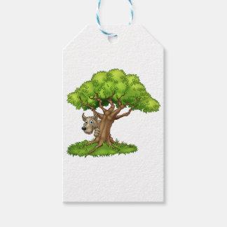 Etiquetas Para Regalos Lobo y árbol grandes del cuento de hadas del