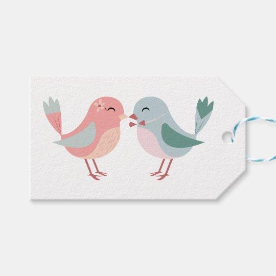 Etiquetas Para Regalos Lovebirds rosados y azules - boda, ducha nupcial