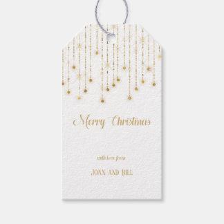 Etiquetas Para Regalos Luces de la chispa del oro de las Felices Navidad