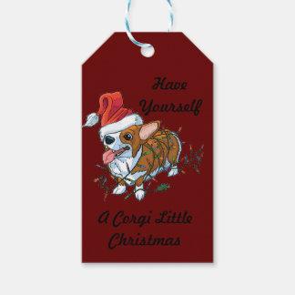 Etiquetas Para Regalos Luces de Navidad del navidad del perrito del Corgi
