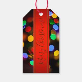 Etiquetas Para Regalos Luces de navidad multicoloras. Añada el texto o