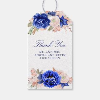 Etiquetas Para Regalos Marina de guerra y boda floral de la acuarela del