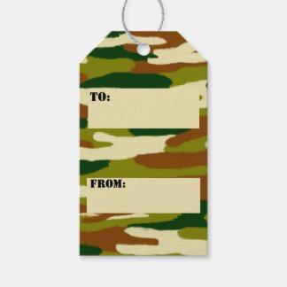 Etiquetas Para Regalos Marrones y verdes del camuflaje