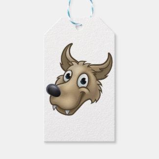 Etiquetas Para Regalos Mascota del carácter del lobo del dibujo animado