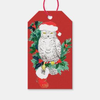 Etiquetas Para Regalos Media del búho del navidad y gorra caprichosos de