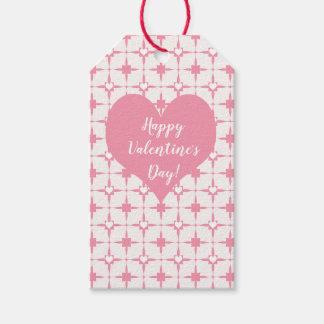Etiquetas Para Regalos Modelo blanco de los corazones del rosa del día de