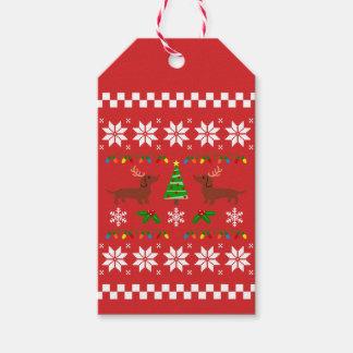 Etiquetas Para Regalos Modelo feo del navidad de las astas del Dachshund