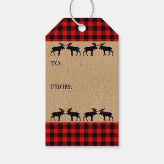 Etiquetas Para Regalos Modelo rojo tradicional de la tela escocesa del
