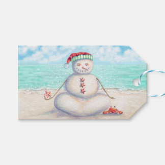 Etiquetas Para Regalos Muñeco de nieve de la yoga en la playa