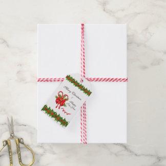 Etiquetas Para Regalos Navidad de las bayas del acebo y bastones de