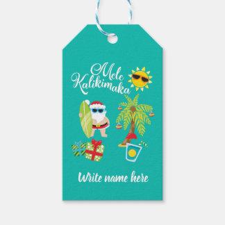 Etiquetas Para Regalos Navidad hawaiano. Papá Noel Mele Kalikimaka.